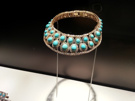 Necklace, 1972 Platinum with turquoise and diamonds 39.1 x 17.8 cm (with 5.1 cm extension, not shown) Collection of Jennifer Tilly