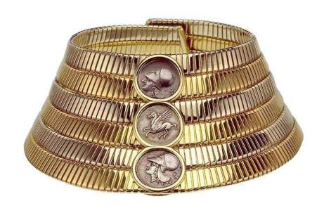 Tubogas choker, 1974 Two-color gold with Greek silver coins 27 cm (top) and 41 cm (base) x 7 cm Bulgari Heritage Collection, inv. 404 N607