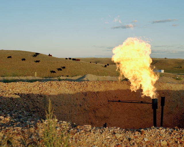 Natural gas flare, White Earth River Valley, September 2013, by Sarah Christianson